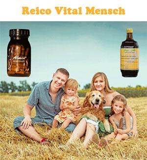 Diese ist ein Bild vom Reico Vital Regasaft, Almin und einer glücklichen Familie